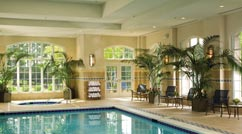 Indoor pool with small hot tub surrounded by plants and chairs